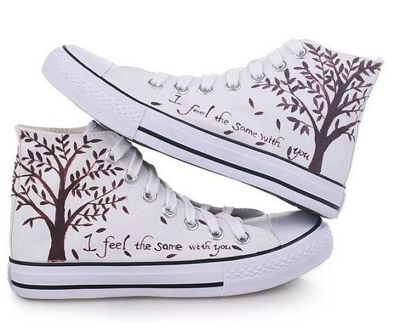 Tree Converse shoes Custom Converse Galaxy Converse Sneakers Hand-Painted On Converse Shoes Christmas Gif