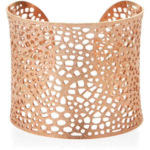 Amrita Singh Rose Gold-Tone Filigree Cuff (30 AUD) ❤ liked on Polyvore featuring jewelry, bracelets, white, filigree jewelry, rose gold tone jewelry, amrita singh bangles, amrita singh jewellery and white jewelry