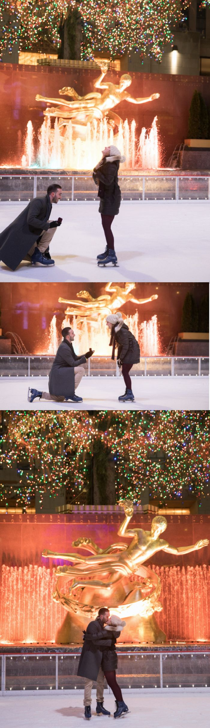 Loving this romantic proposal at Rockefeller Center in NYC, and the surprises didn't stop after she said yes!