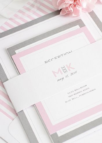 Modern Pink and Grey Wedding Invitations with a striped envelope liner