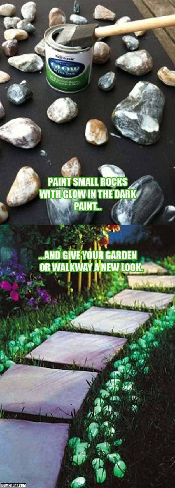 Give your walkway a new look by painting small rocks with glow in the dark paint: