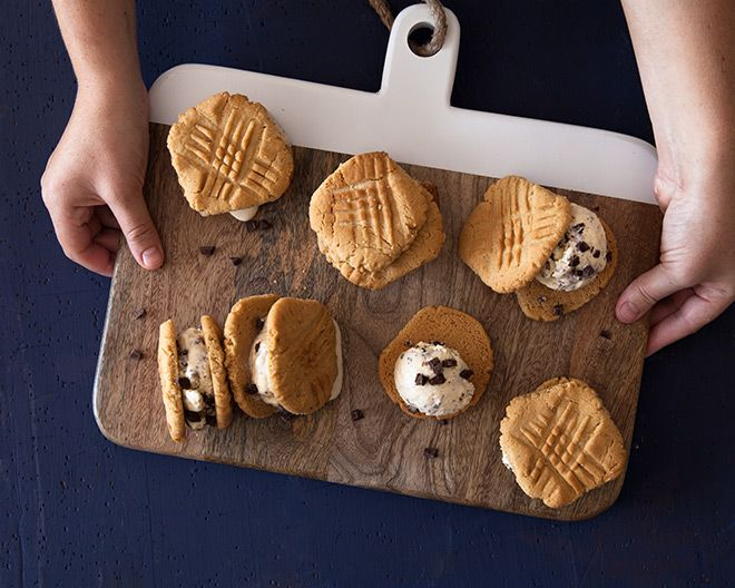 If you ever baked your grandmother's knee, you might recall peanut butter dough balls with fork imprints. We reinvented them into an ice cream sandwich.