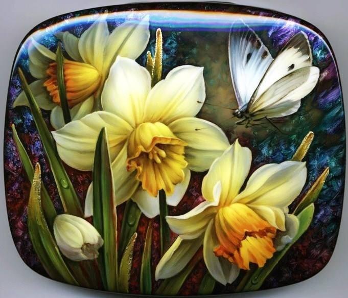 """Narcissus"" Fedoskino Lacquer box by Oleg Gavrilov"
