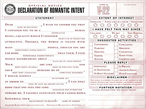 declaration of romantic intent from the bureau of communication