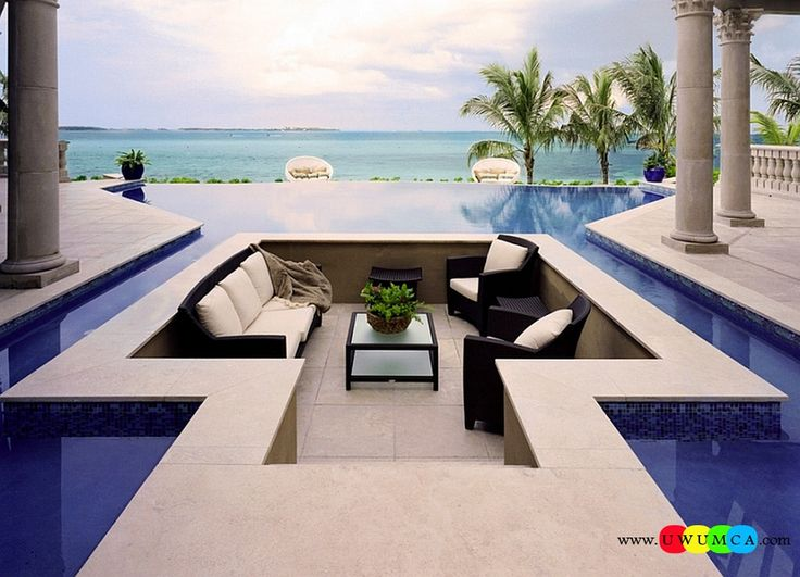Outdoor / Gardening:Create Outdoor Lounge With Sunken Seating Area Ideas Build Conversation Pits Sunken Sitting Areas In Pool Garden Outside Decor Breathtaking Conversation Pit Surrounded By The Pool With Smartly Hidden Stepping Stones Elevate The Style Quotient Of Your Outdoor Lounge With Sunken Seating Area