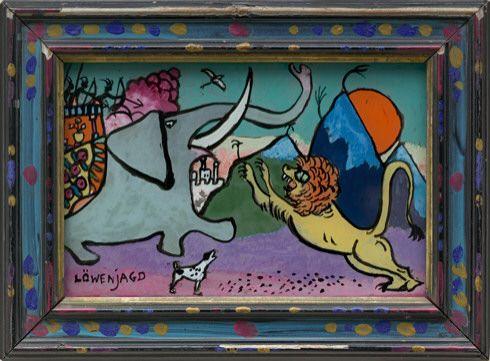 Vasily Kandinsky. Lion Hunt (Löwenjagd). 1911 - Guggenheim Museum 'Lion Hunt (Löwenjagd), 1911. Reverse oil painting on glass in artist's painted frame, 3 11/16 x 5 3/8 inches (9.4 x 13.6 cm). Solomon R. Guggenheim Museum, New York 84.3215 © 2014 Artists Rights Society (ARS), New York/ADAGP, Paris - http://www.guggenheim.org/new-york/collections/collection-online/artwork/1859