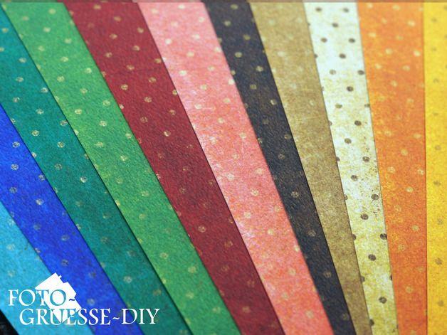 "Edel strukturiertes Design-Papier  aus der BoBunny - ""Vintage-Double Dot"" Collection  - Set aus Scrapbookingpapier in 11 verschiedenen Farben  - doppelseitig bedruckter Cardstock -..."