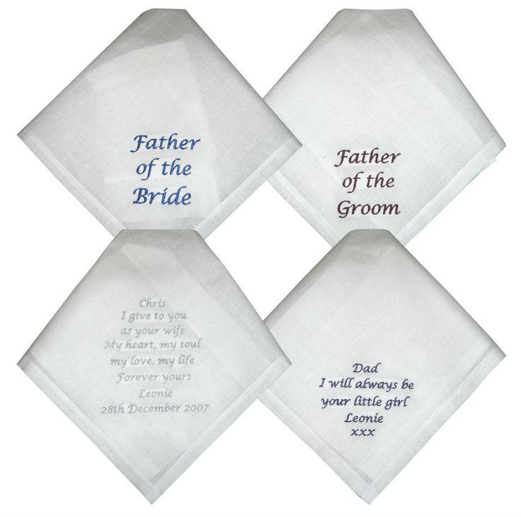 Wedding Handkerchiefs - Bride to Dad, Groom to Dad, Bride to Groom #Icon