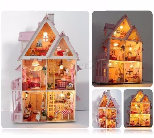 Kits-dream-DIY-Wood-Dollhouse-with-light-miniature-and-Furniture-large-villa-New