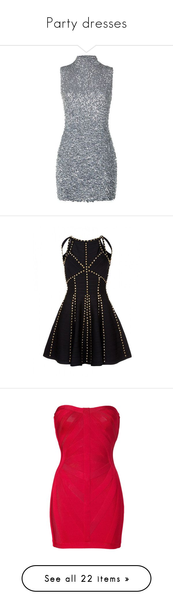 """""""Party dresses"""" by sangarest ❤ liked on Polyvore featuring dresses, vestidos, sparkly dress, embellished cocktail dress, high neck cocktail dress, mini dress, high neck dress, cutout bandage dress, gold beaded cocktail dress and gold dress"""