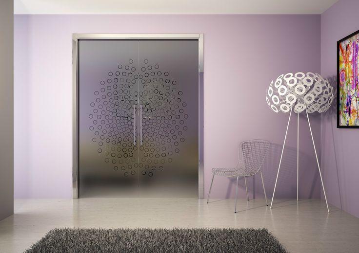 Porte coulissante à galandage en verre trempé GLAZE by Ermetika