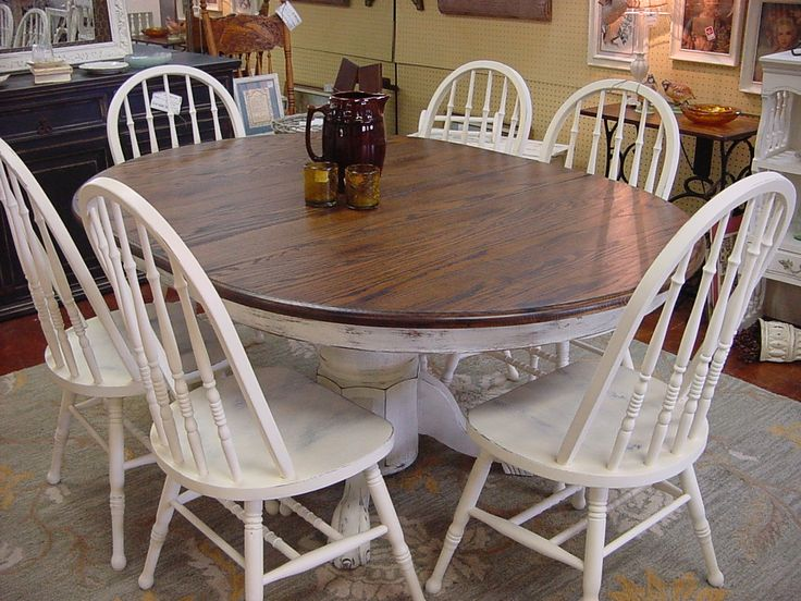 """48"""" OAK ROUND TABLE w/ 18"""" LEAF & SIX(6) MATCHING CHAIRS ..."""
