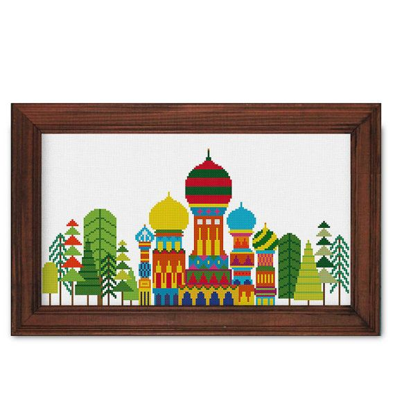 Russian Palace and Forest cross stitch pattern by ThuHaDesign
