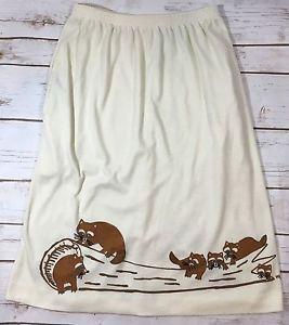 Vintage The Vested Gentress Ivory Knit Raccoon Novelty Casual Skirt Medium  | eBay