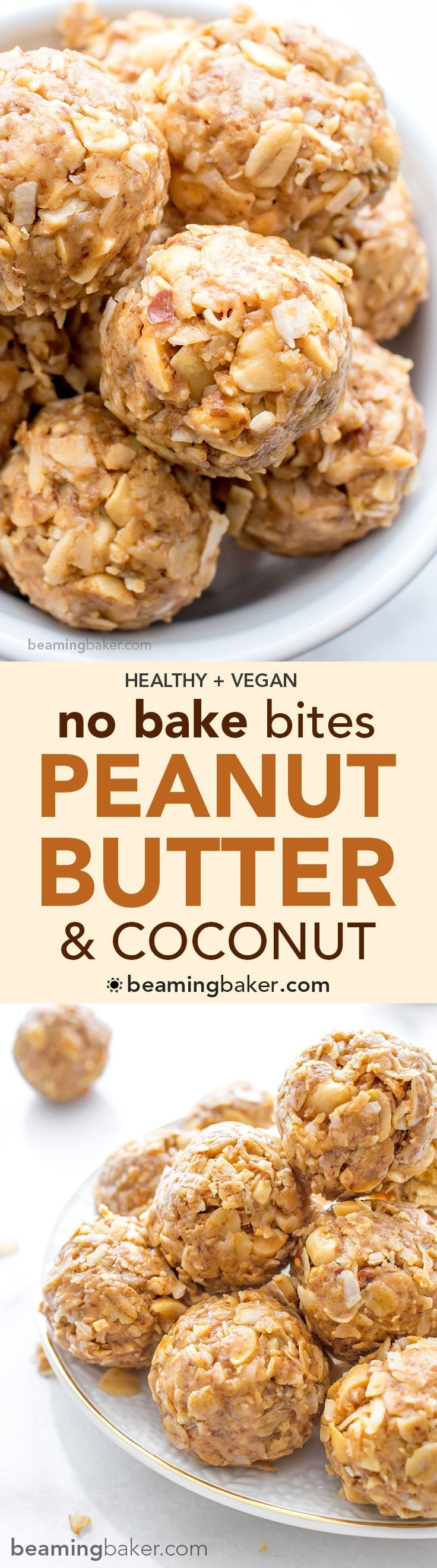 No Bake Peanut Butter Coconut Bites: delicious, easy to make, energy-boosting and super-filling. Made of just 6 simple ingredients, vegan, gluten free and healthy. :sunny:︎ BEAMINGBAKER.COM #vegan #glutenfree