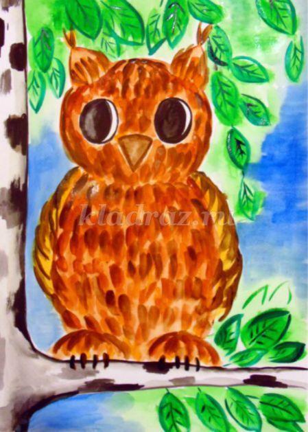 Рисование совы поэтапно для детей от 5 лет. Мастер-класс с пошаговым фото