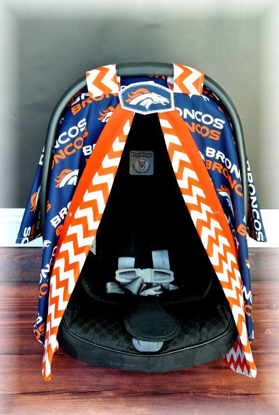 Denver BRONCOS car seat canopy car seat cover by JaydenandOlivia