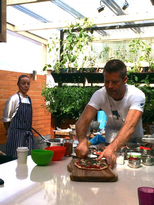Editorial assistant Olivia cooks pizza with Pete Evans and Breville #peteevans #mykitchenrules #mkr #breville