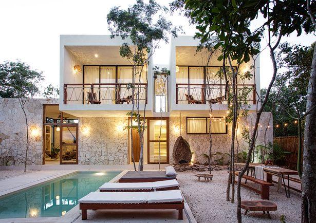 Custom Villa - Prvt Pool and Outdoor Dining - Villas for Rent in Tulum, Quintana Roo, Mexico Rooftop Terrace, Terrace Garden, Villas, Small Villa, Modern Villa Design, Duplex House, Organic Architecture, Exterior, House Design