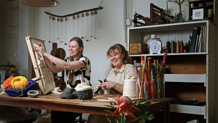 Holly Marlin and Xanthe Roxburgh are co-owners of new pop-up store Fibre & Yarn.  Picture: Marina Neil