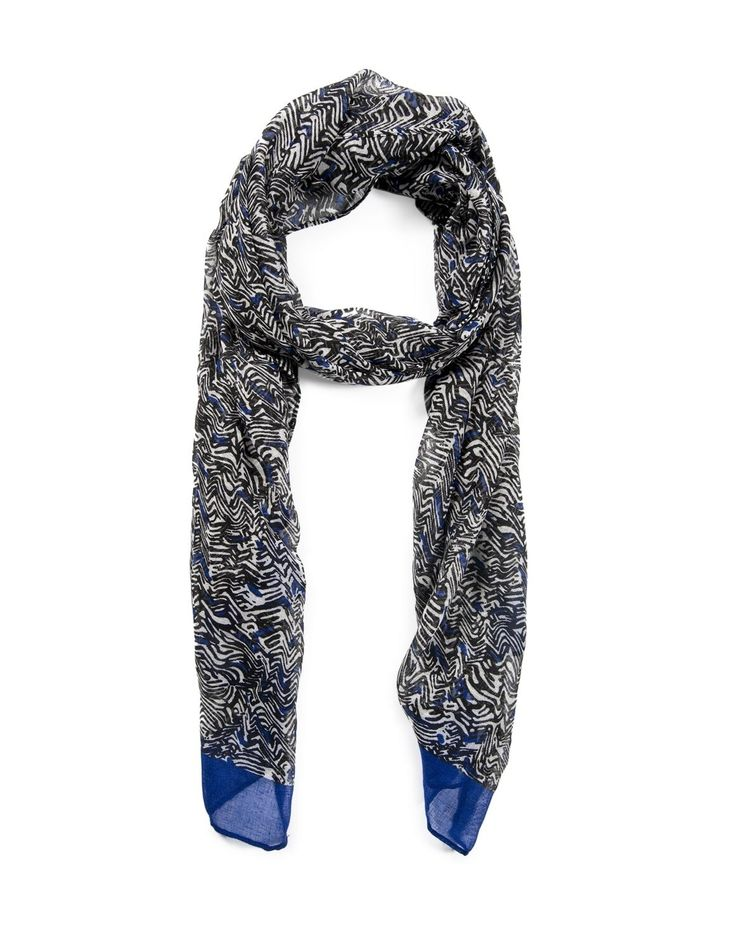 Would look stunning with my Moms classic black coat with the contrasting cobalt blue! Abstract Print Scarf