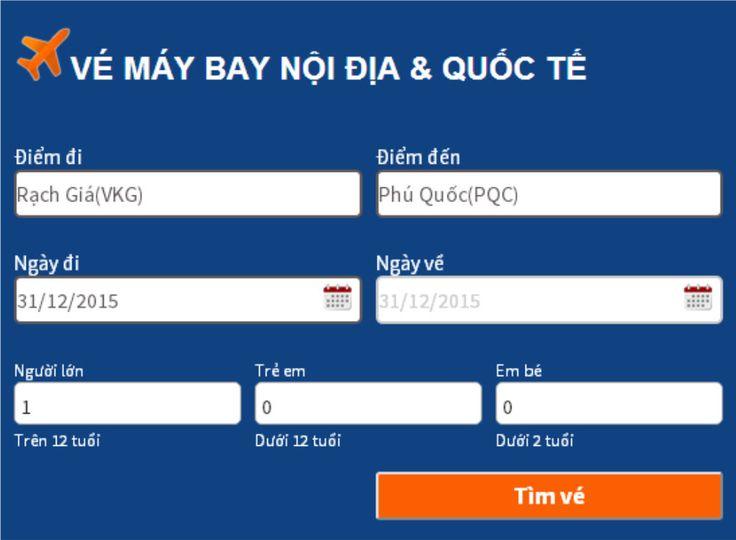 Ve may bay tu Rach Gia di Phu Quoc, Vé máy bay từ Rạch Giá đi Phú Quốc