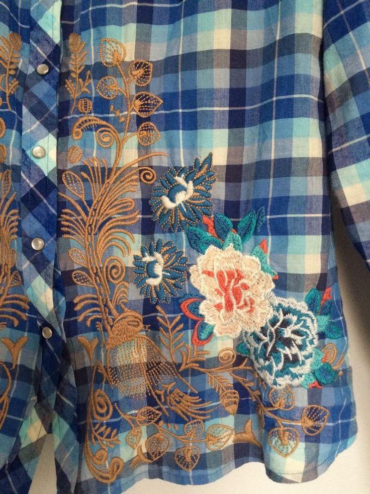 3J Workshop Johnny Was Plaid Floral Embroidered Pearl Snap Western Shirt Medium  | eBay