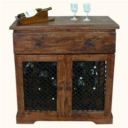 Rustic Solid Wood Iron Bottle Wine Bar Liquor Storage Rack Cabinet