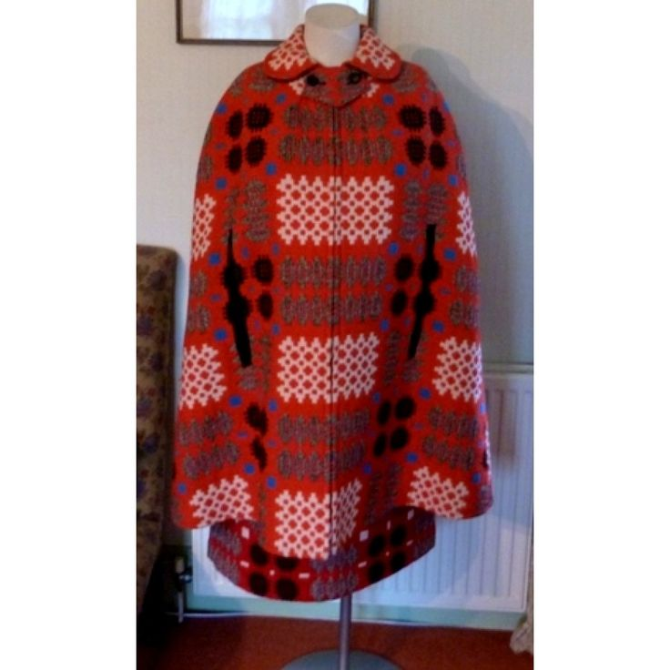 70s vintage red Welsh wool tapestry cape and skirt