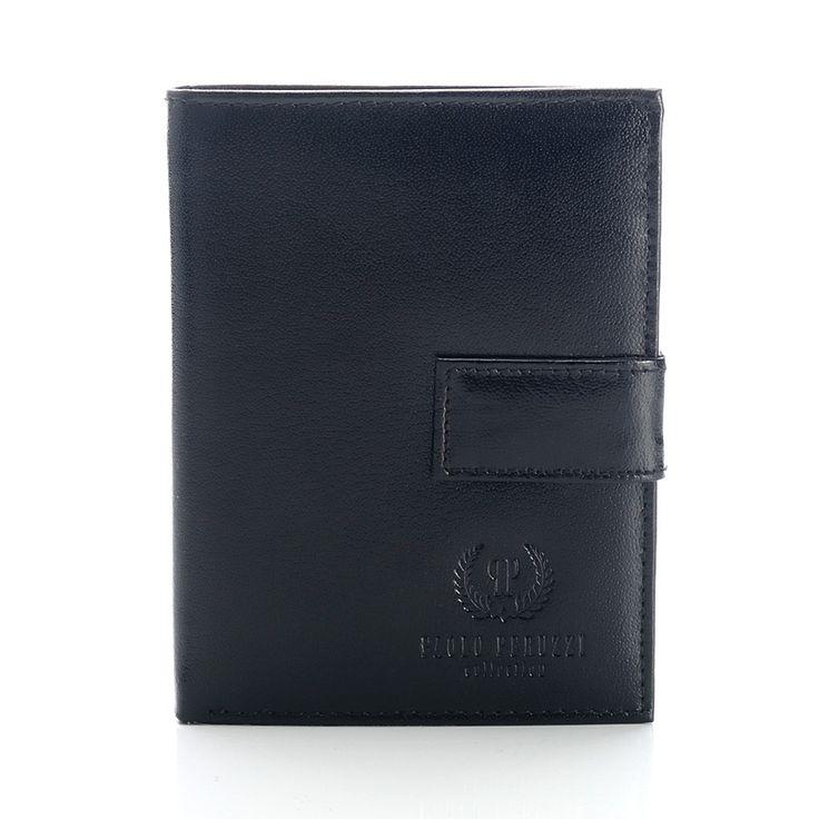 #paoloperuzzi, czarny portfel męski, leather black men wallet paolo peruzzi
