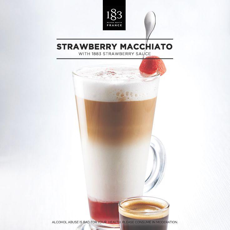 Strawberry Macchiato with 1883 Strawberry sauce #strawberry #macchiato #coffee #latte #barista