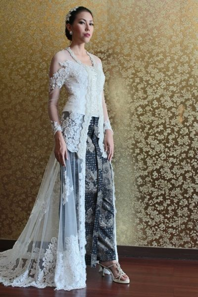Wedding kebaya dress offwhite.