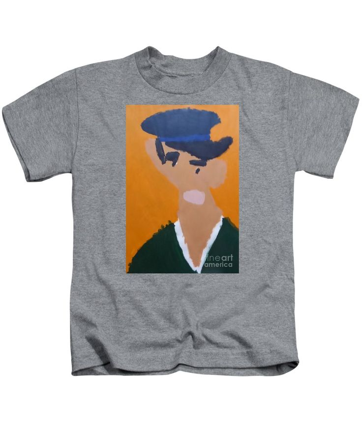 Patrick Kids T-Shirt featuring the painting Young Man With A Hat 2014 - After Vincent Van Gogh by Patrick Francis