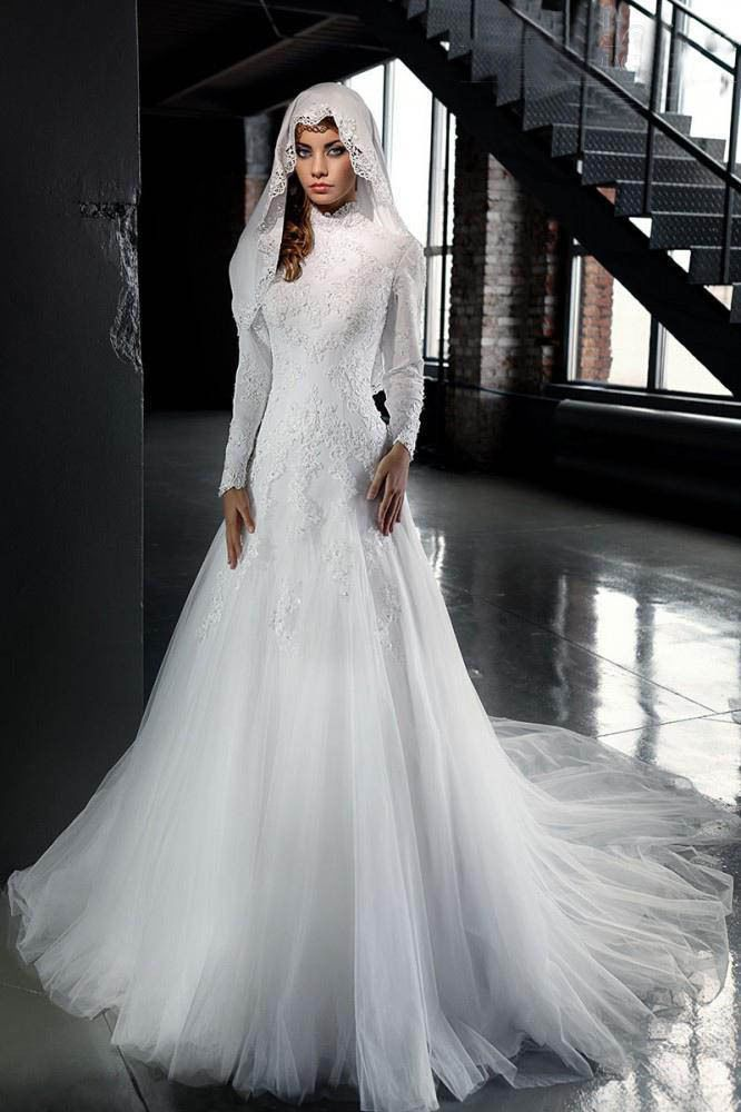 Muslim Wedding Dress Hijab Long Sleeve High Neck White Bridal Gown Custom New | Clothes, Shoes & Accessories, Wedding & Formal Occasion, Wedding Dresses | eBay!