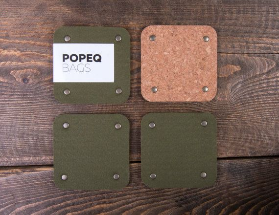Square felt coasters set of 4 Coasters for drinks Thick by POPEQ