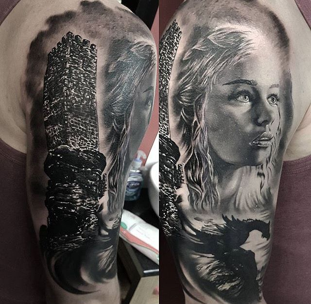 Daenerys Targaryen tattoo & Tower of Joy tattoo. black and white