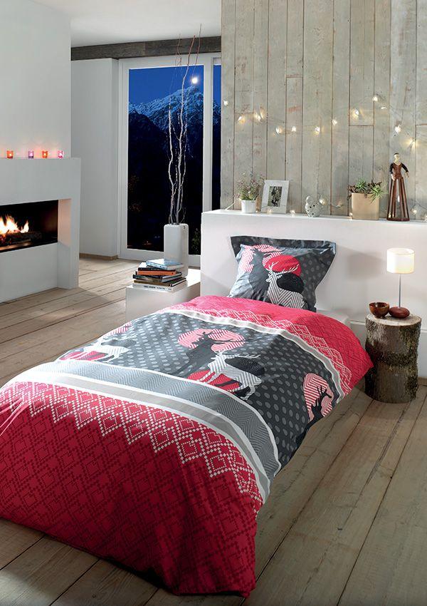 Parure de lit AURINKO. 100% coton - 57 fils/cm2 Avec rabat au pied pour border Taie d'oreiller à volant 63 x 63 cm