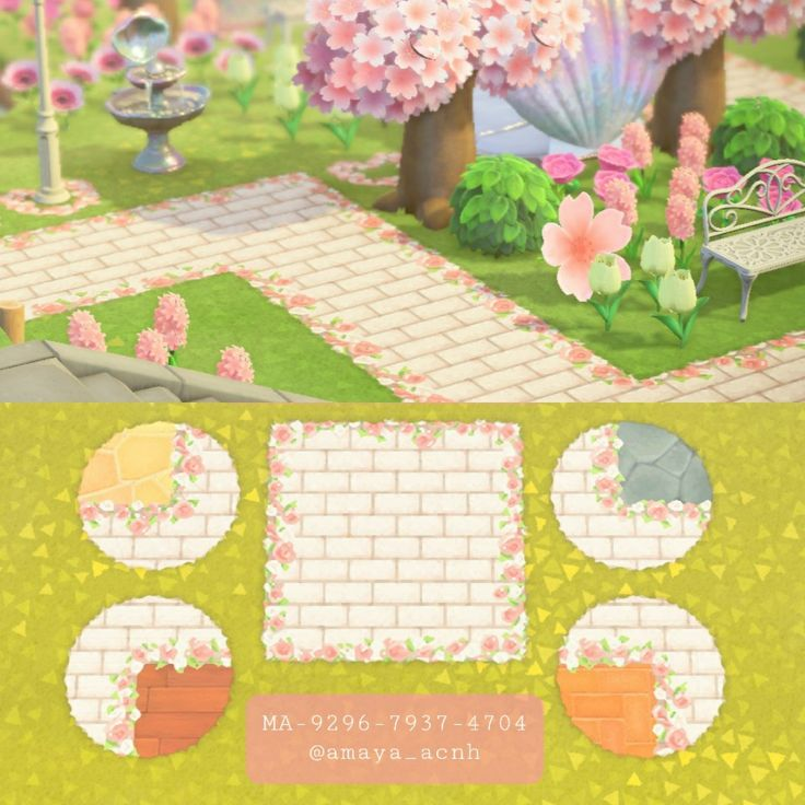 White floralbordered brick path Animal crossing, Animal