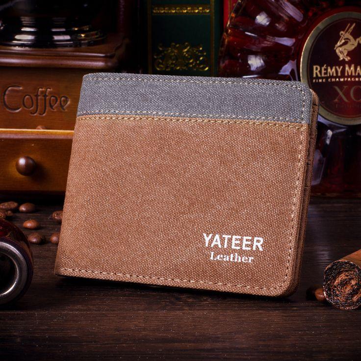 2014 Новый дизайнер мужской кошелек Старинные холст топ гарантия качества кошелек студент бумажник Ультра-тонкий короткие бумажник бесплатная Доставка