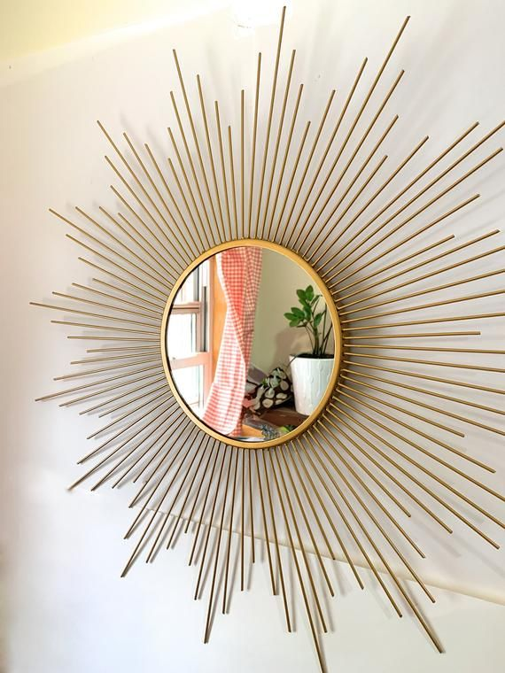 Decorative Starburst Mirrormetal Wall Mirrorwall Hanging Etsy In 2020 Starburst Mirror Wall Mirror Decor Living Room Mirror Wall Decor Bedroom