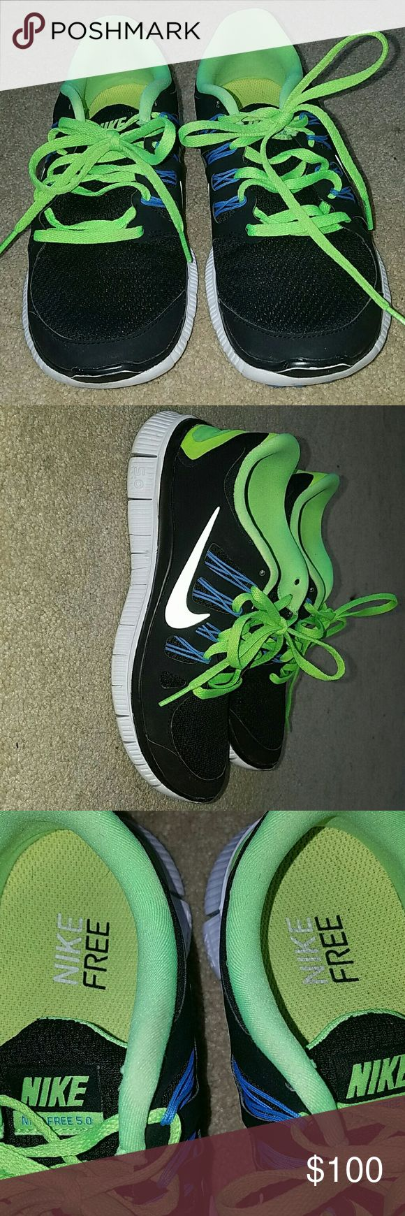 Nike Free runners - clean - no holes - a little dirty on soles - neon and black Nike Shoes Athletic Shoes