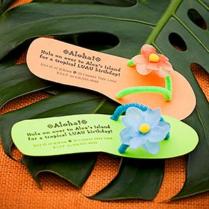 Flip flop invites to a luau birthday bash. Everyone will RSVP!