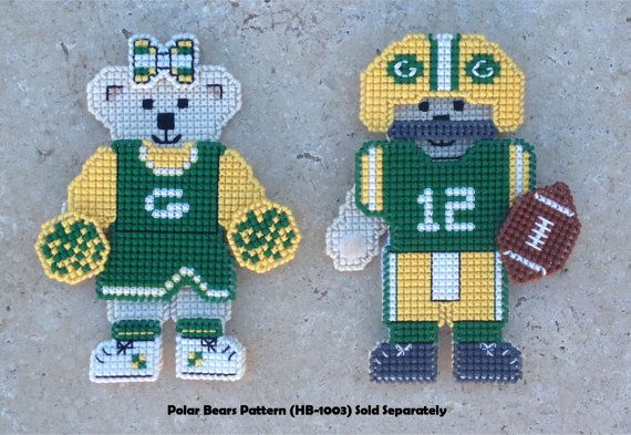 Plastic Canvas Instant PDF Download Pattern - Green Bay Packers Inspired Player and Cheerleader by Hunibears, $4.00