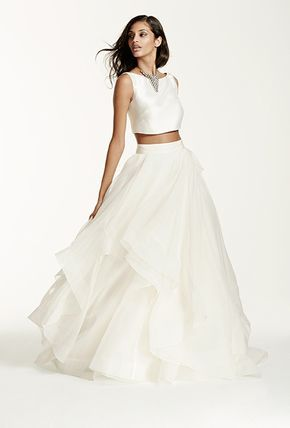 Style SWG687, mikado crop top with organza ball gown skirt, Galina Signature Collection exclusively at David's Bridal   Brides.com