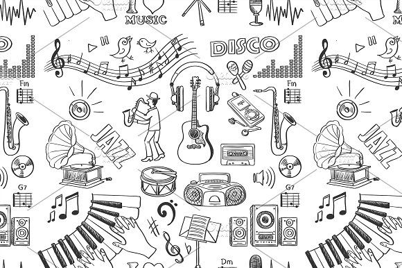 Hand drawn music pattern by Netkoff on @creativemarket