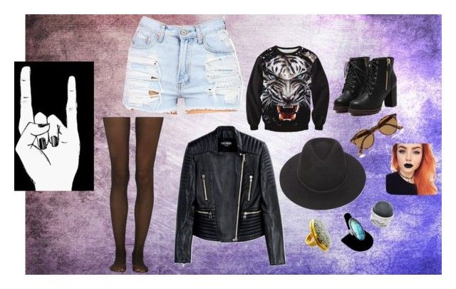"""""""Grunge Look"""" by amandaback ❤ liked on Polyvore featuring beauty, Fogal, Balmain, Brixton, Bita Pourtavoosi, Vince Camuto, Ray-Ban and grunge"""