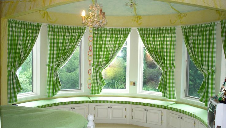 Bay window treatment cottage pinterest for Bay kitchen window treatment ideas