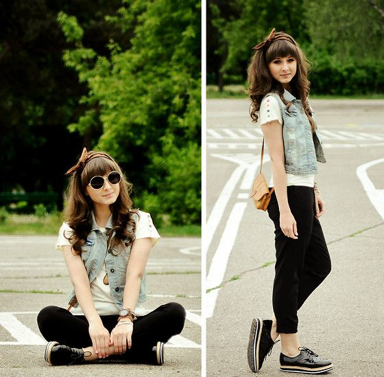 comfy layering- denim vest over longer white tee, rolled black pants, sporty brogues. Cute bandeau!