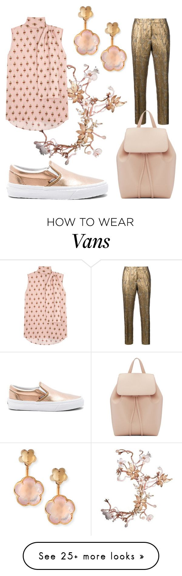 """""""gold 'n pink"""" by glasspaperscizzors on Polyvore featuring Vans, Dries Van Noten, Mansur Gavriel, Valentino and Pasquale Bruni"""