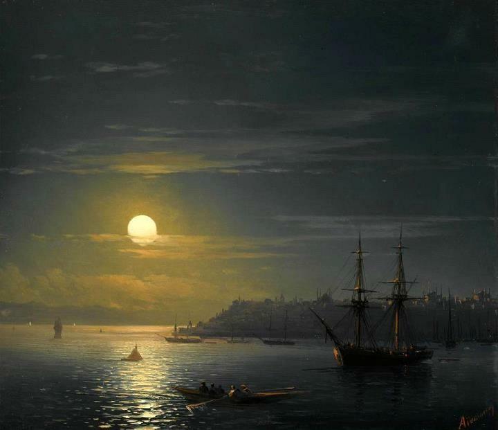 Ivan Aivozovsky [Russian-born Armenian Academic, 1817-1900] ~ View of Constantinople in Moonlight, 1846